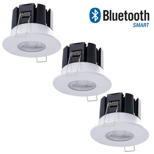 INTOLED Set of 3 dimmable Bluetooth LED downlights Stockholm 10 Watt IP65