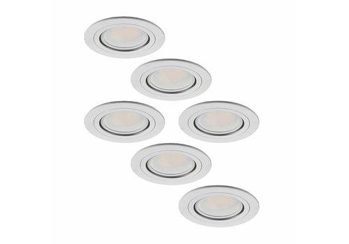 Set of 6 LED downlights Pittsburg 3 Watt tiltable