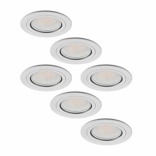 Set van 6 stuks LED inbouwspots Pittsburg 3 Watt kantelbaar