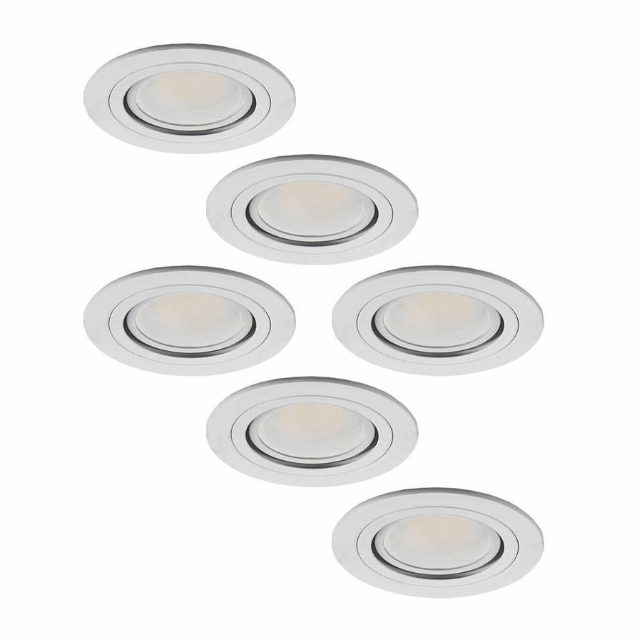 Set van 6 stuks LED inbouwspots Pittsburg 3 Watt kantelbaar niet dimbaar