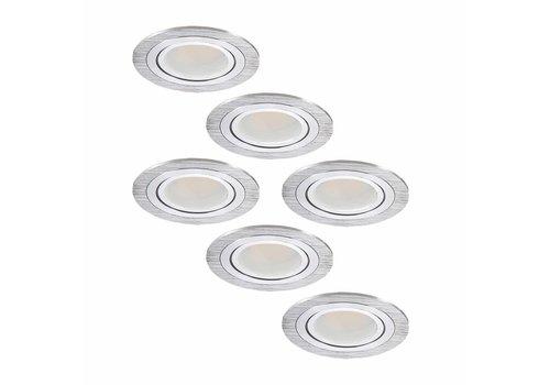 Set van 6 stuks LED inbouwspots Chandler met 3 Watt kantelbaar