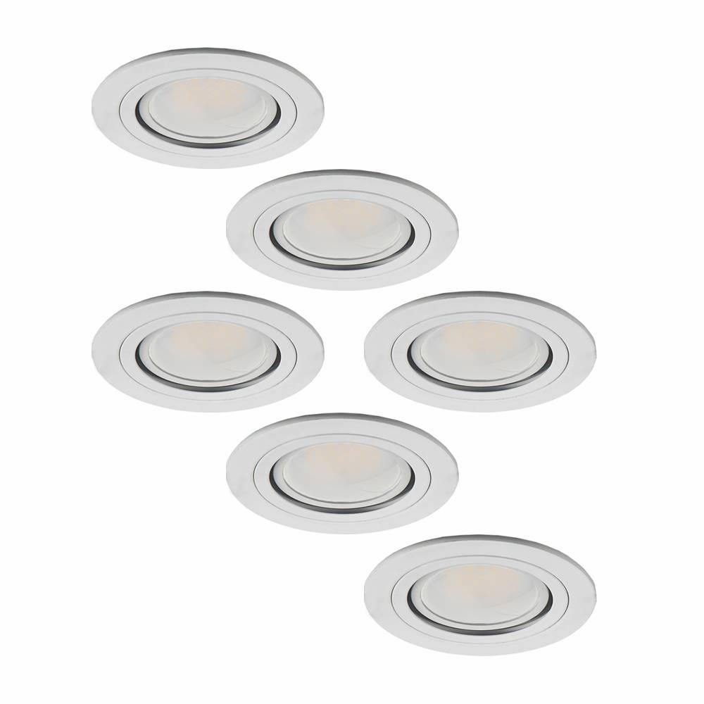 Set van 6 stuks LED inbouwspots Pittsburg 5 Watt kantelbaar niet dimbaar