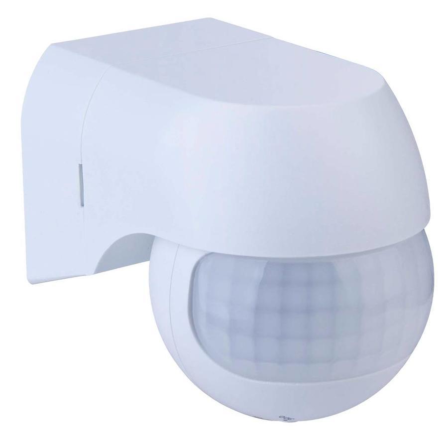 PIR Bewegungsmelder mit Dämmerungsschalter 180° Reichweite 12 Meter Maximal 400 Watt Farbe weiß Aufputz IP44