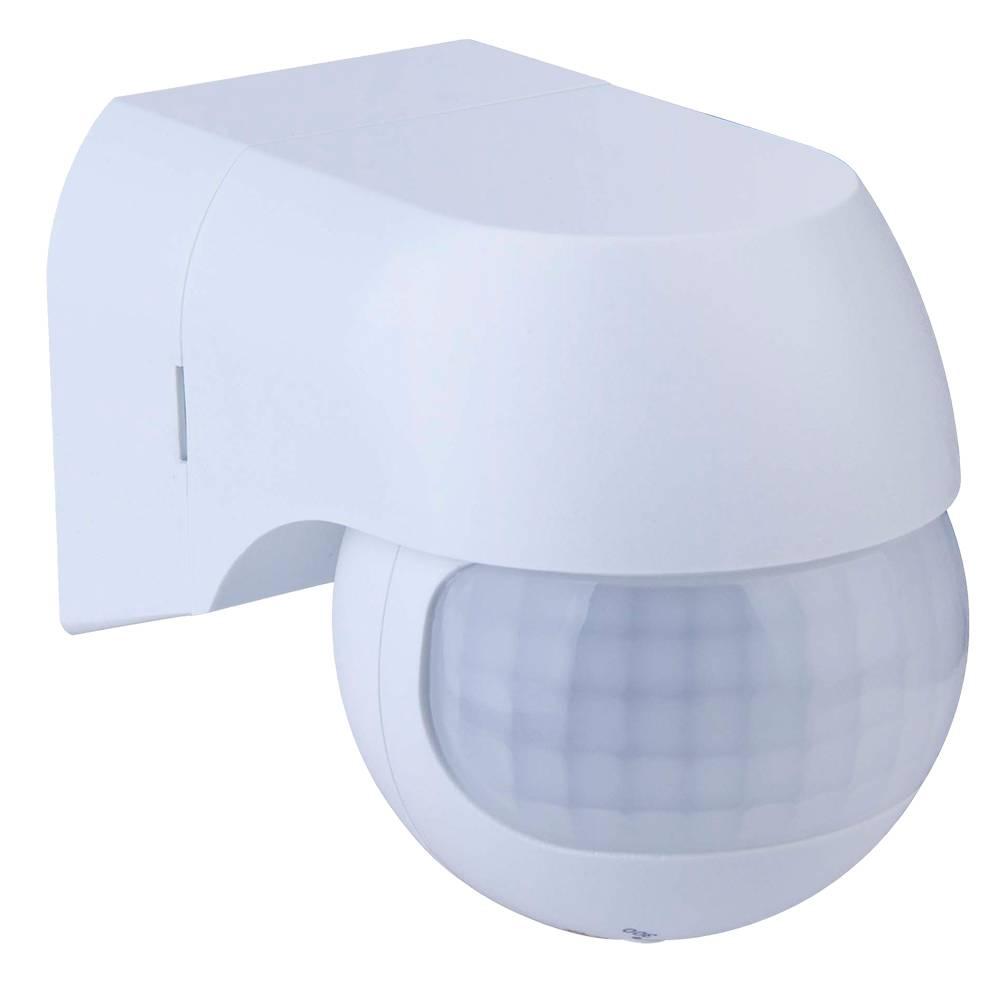 PIR bewegingssensor met schemerschakelaar 180° bereik 12 meter Maximaal 400 Watt kleur wit opbouw IP