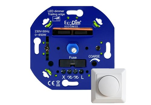 Ecodim LED dimmer 0-450 Watt Trailing Edge incl. white frame and knob