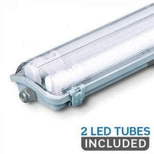 V-TAC LED TL armatuur 120 cm IP65 incl. 2x18 Watt LED TL buizen 6400K