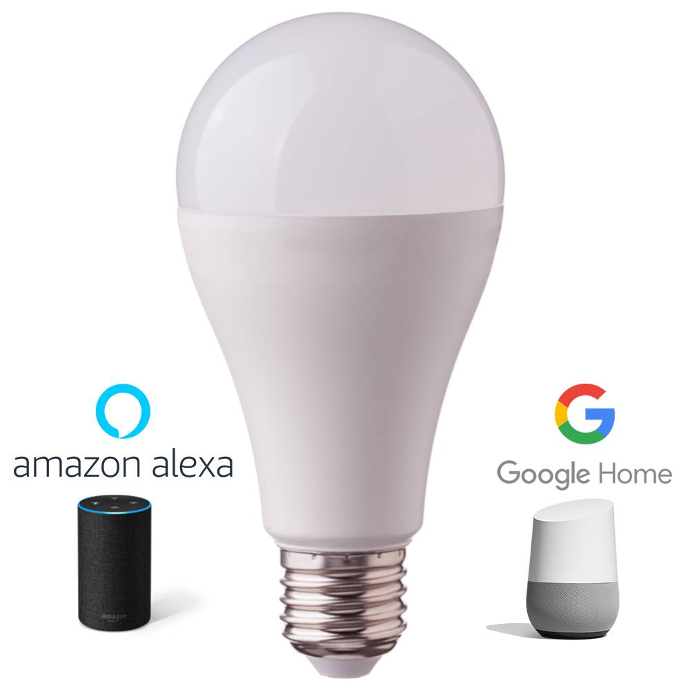 E27 LED Lamp 9 Watt 3000K + RGB A60 Vervangt 60 Watt Dimbaar compatibel met Amazon Alexa en Google H