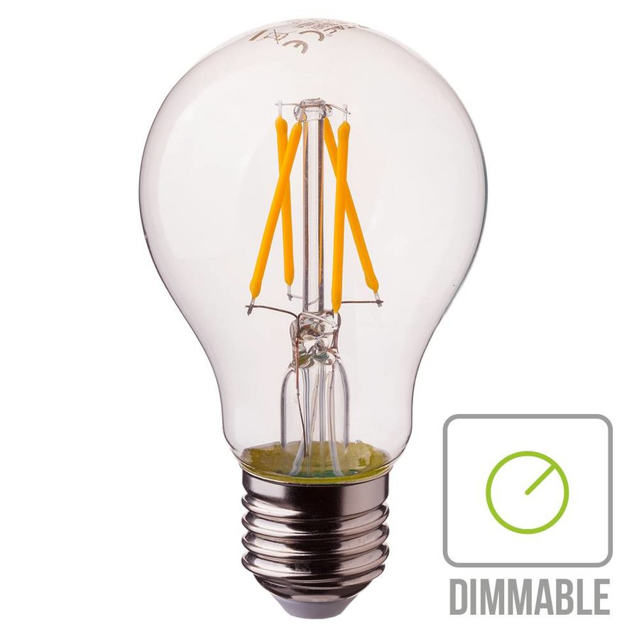 Dimmable LED filament bulb A60 with E27 fitting 4 Watt 400lm extra warm white 2700K