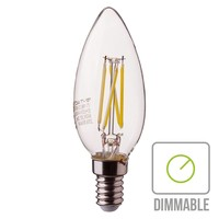 Dimbare LED gloeilamp kaarsvorm met E14 fitting 4 Watt 350lm extra warm wit 2700K