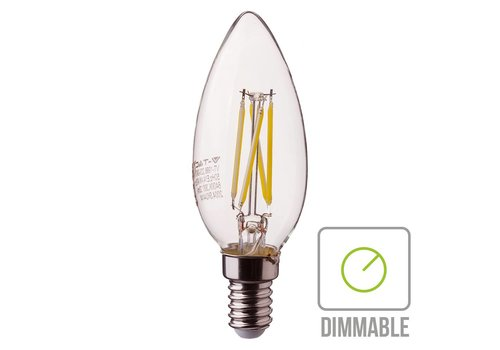 Dimmable LED filament bulb candle with E14 fitting 4 Watt 350lm extra warm white 2700K