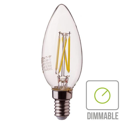 V-TAC Dimmable LED filament bulb candle with E14 fitting 4 Watt 350lm extra warm white 2700K