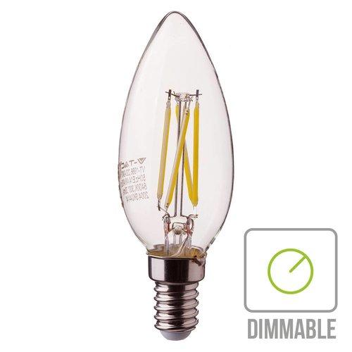 V-TAC Dimmbare LED Glühbirne Kerze mit E14 Fassung 4 Watt 350lm extra Warmweiß 2700K