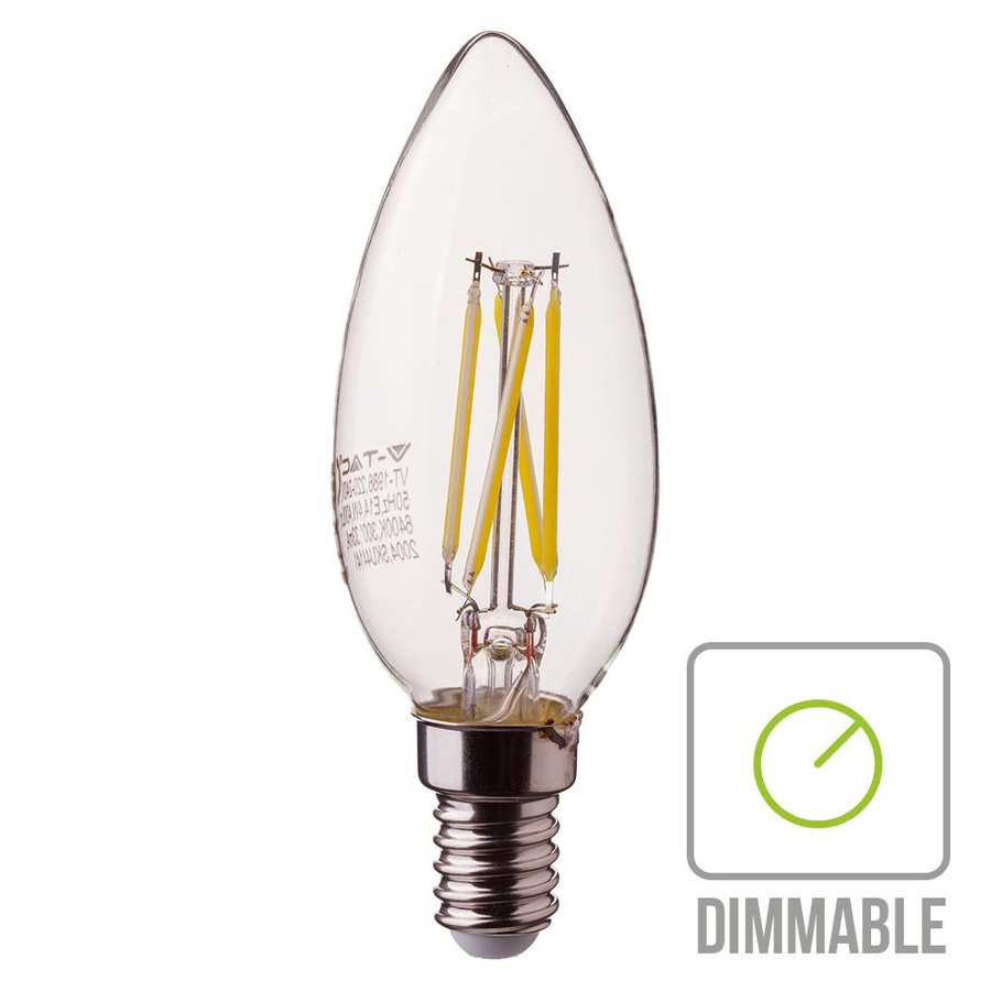 Dimbare Led Lamp E14.Dimbare Led Gloeilamp Kaarsvorm Met E14 Fitting 4 Watt 350lm Extra Warm Wit 2700k