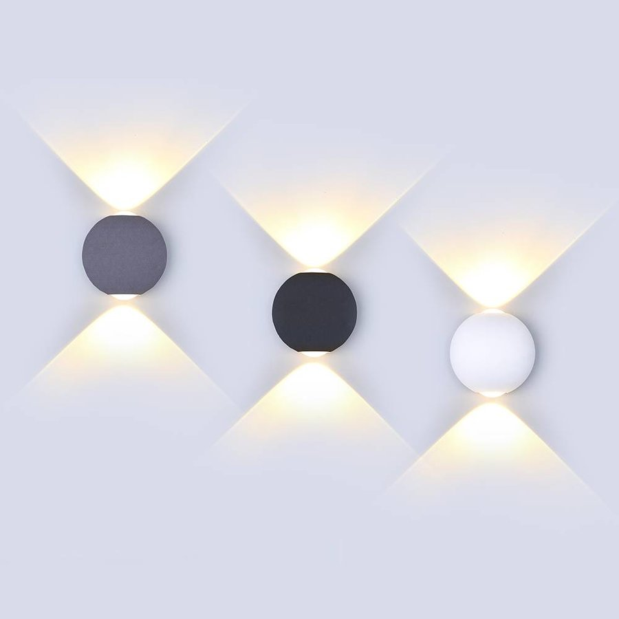 LED wall light 6 Watt 3000K Up-down lighting IP65 Grey Globe