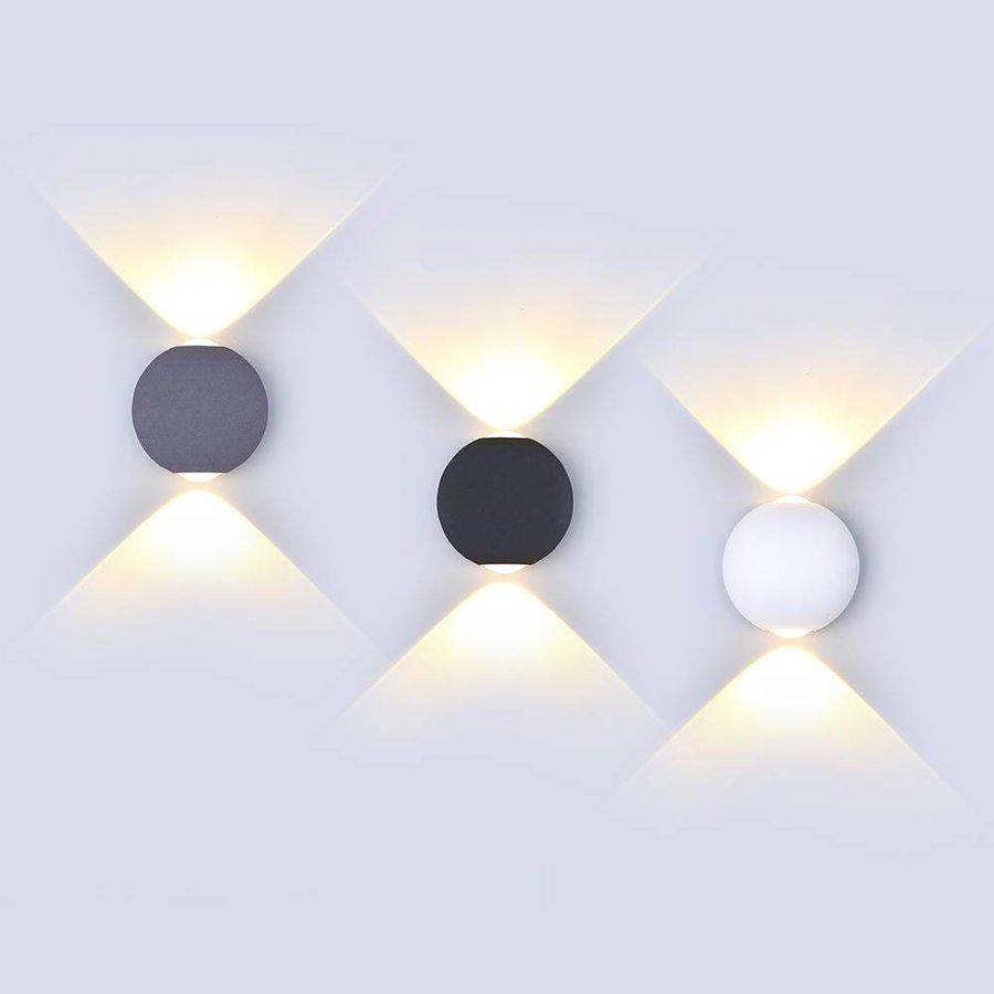 LED wall light 6 Watt 3000K Up-down lighting IP65 White Globe