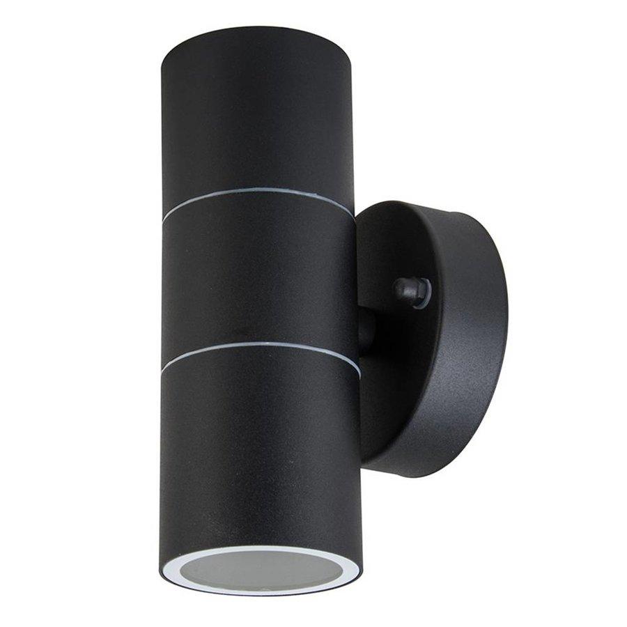 Wandlamp GU10 Rond Zwart Aluminium IP44