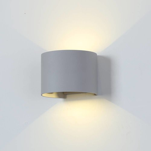 LED Wandlamp 6 Watt 3000K 660lm IP65 Grijs Rond