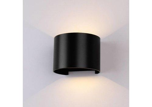 LED Wandlamp 6 Watt 3000K 660lm IP65 Zwart Rond