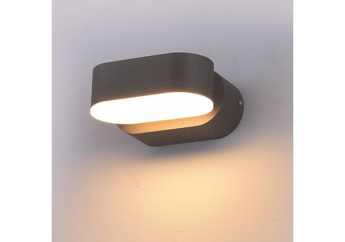 LED Wandleuchte Kippbar Farbe Grau 6 Watt 3000K IP65 Wasserdicht