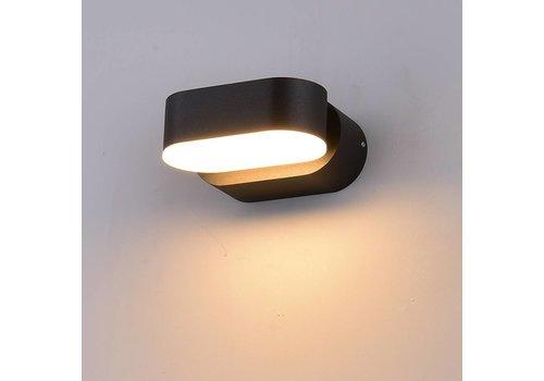 LED wandlamp kantelbaar zwart 6 Watt 3000K IP65 waterdicht
