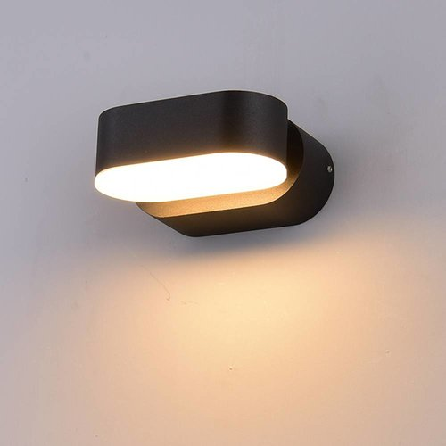 V-TAC LED Wandleuchte Kippbar Farbe Schwarz 6 Watt 3000K IP65 Wasserdicht
