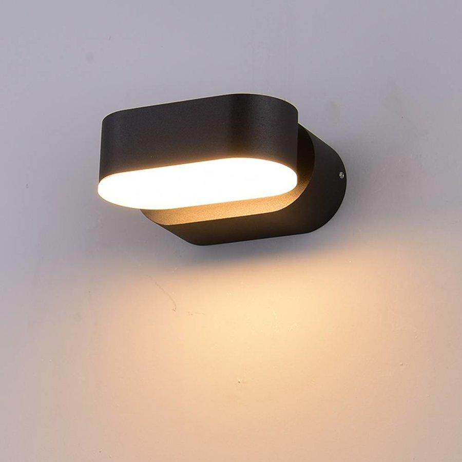 V tac led wall lamp adjustable color black 6 watt 3000k warm white ip65 waterproof