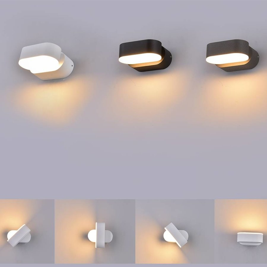 LED wandlamp kantelbaar zwart 6 Watt 3000K warm wit IP65 waterdicht