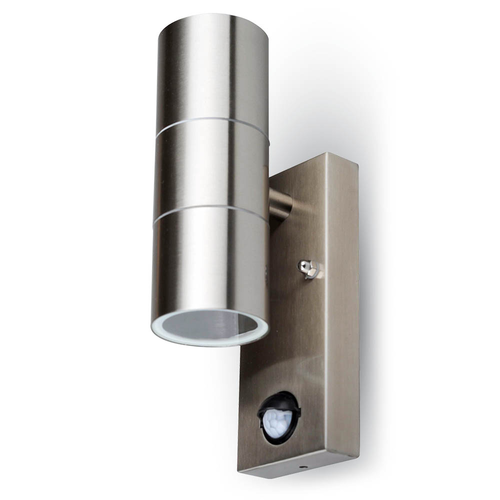 Wall Light Duo GU10 Round Stainless Steel IP44 Incl. motion sensor and twilight switch