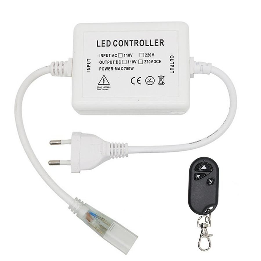LED Lichtslang 230V RF dimmer Plug & Play incl. afstandsbediening met snoer en stekker (t.b.v. éénkleurige lichtslangen)