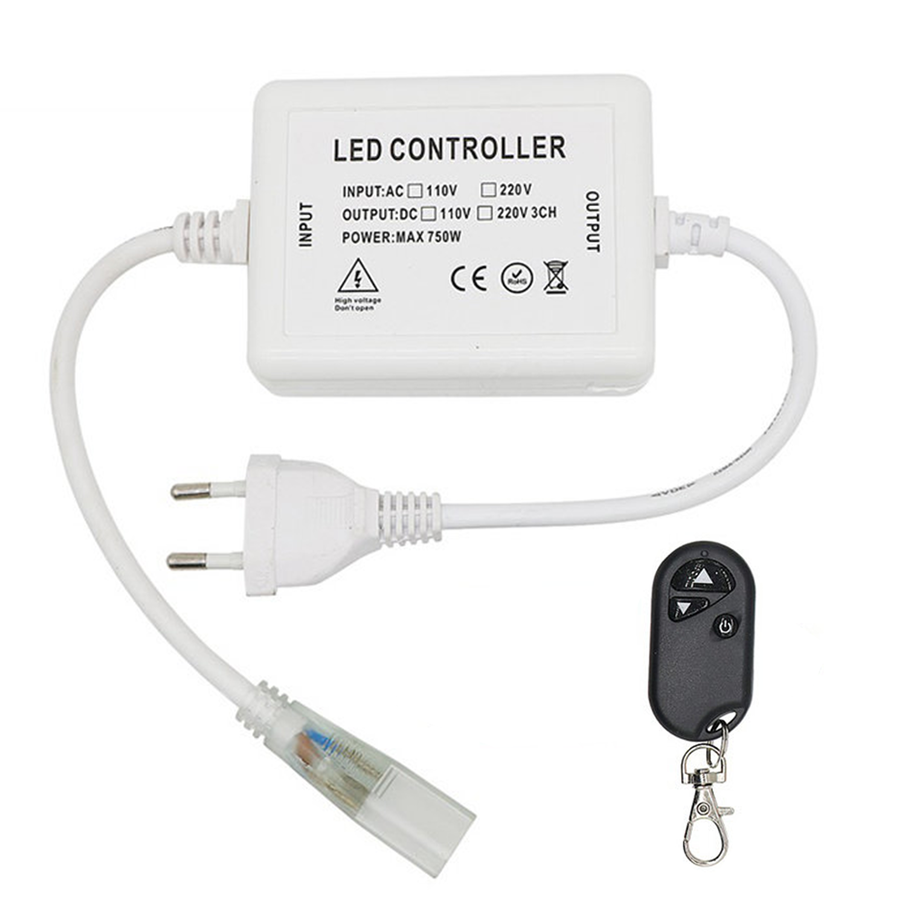 LED Light hose 230V RF dimmer Plug & Play incl. Remote control with power cord and plug (for single-color light hoses)