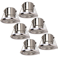 Samsung complete set of 6 pieces dimmable LED downlights Malta 5 Watt warm white IP65 Chrome