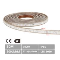 LED Lichtslang plat 50m kleur 3000K warm wit 60 LEDs/m IP65 Plug & Play per 1m in te korten