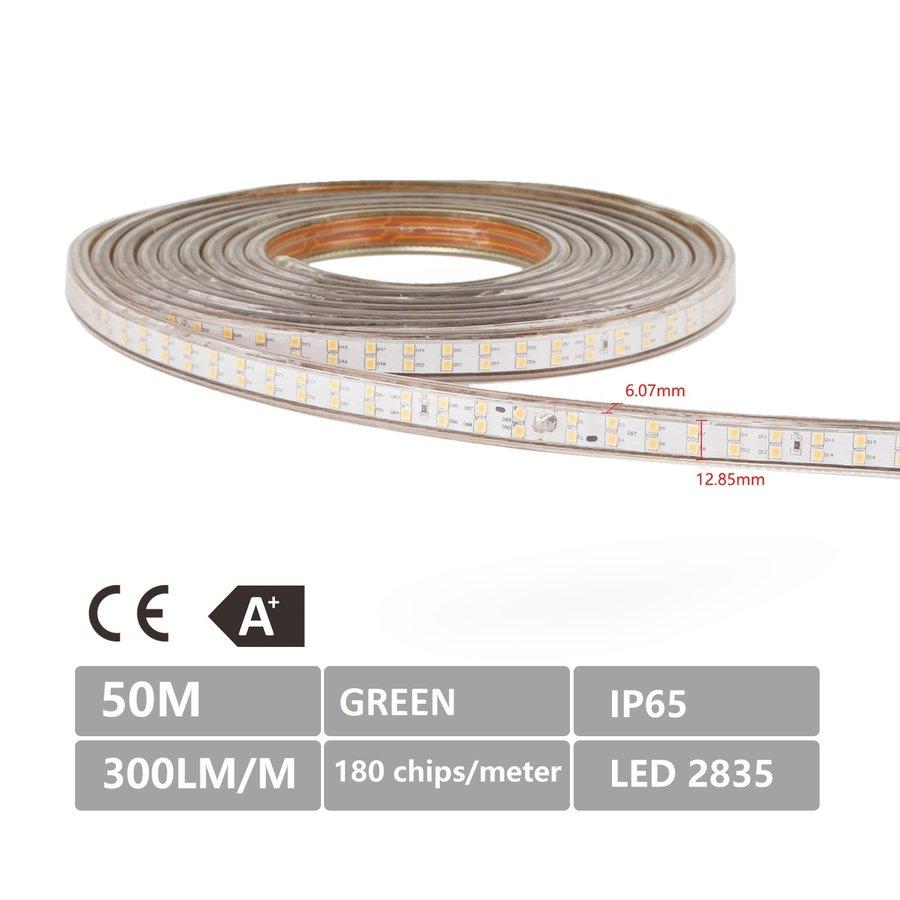 LED Lichtslang plat 50m kleur Groen 180 LEDs/m IP65 Plug & Play per 1m in te korten