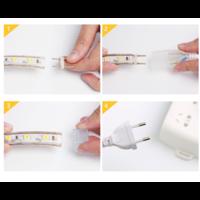 LED Lichtslang plat 50m kleur 3000K warm wit 180 LEDs/m IP65 Plug & Play per 1m in te korten