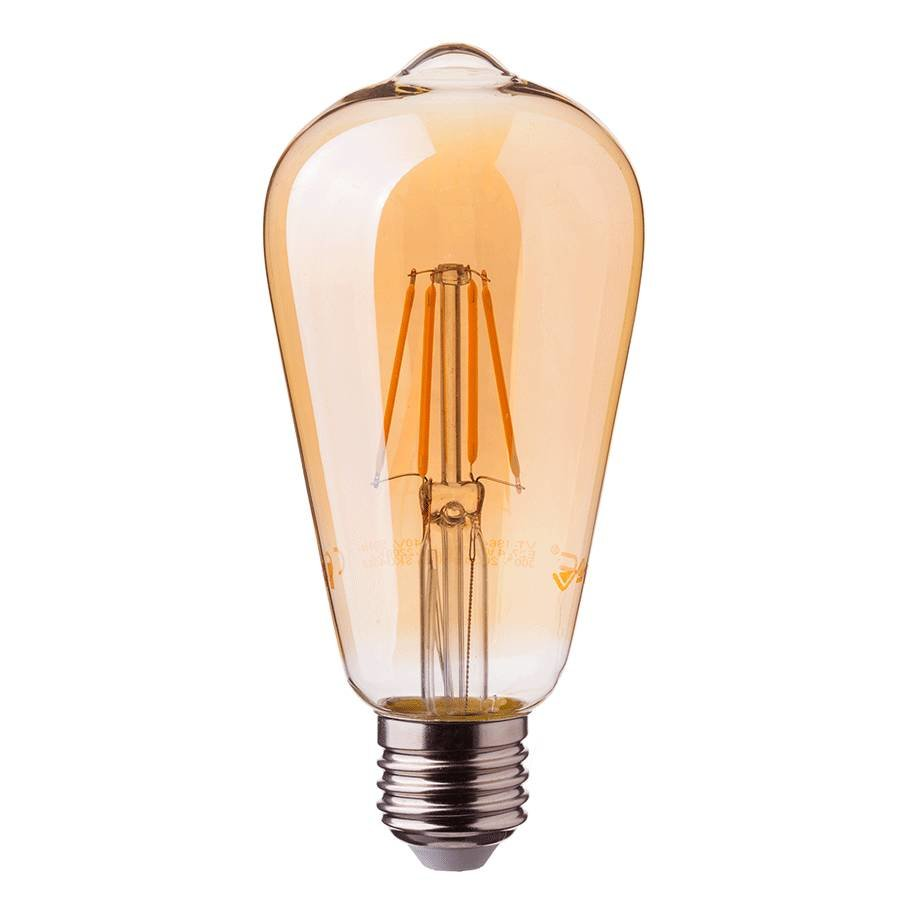 LED filament bulb ST64 with E27 fitting 6 Watt 500lm super warm white 2200K
