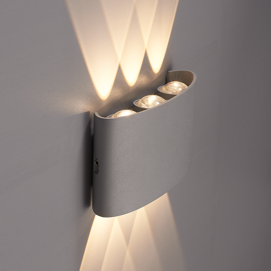 Dimbare LED Wandlamp Tulsa grijs 6 Watt 3000K tweezijdig oplichtend IP54