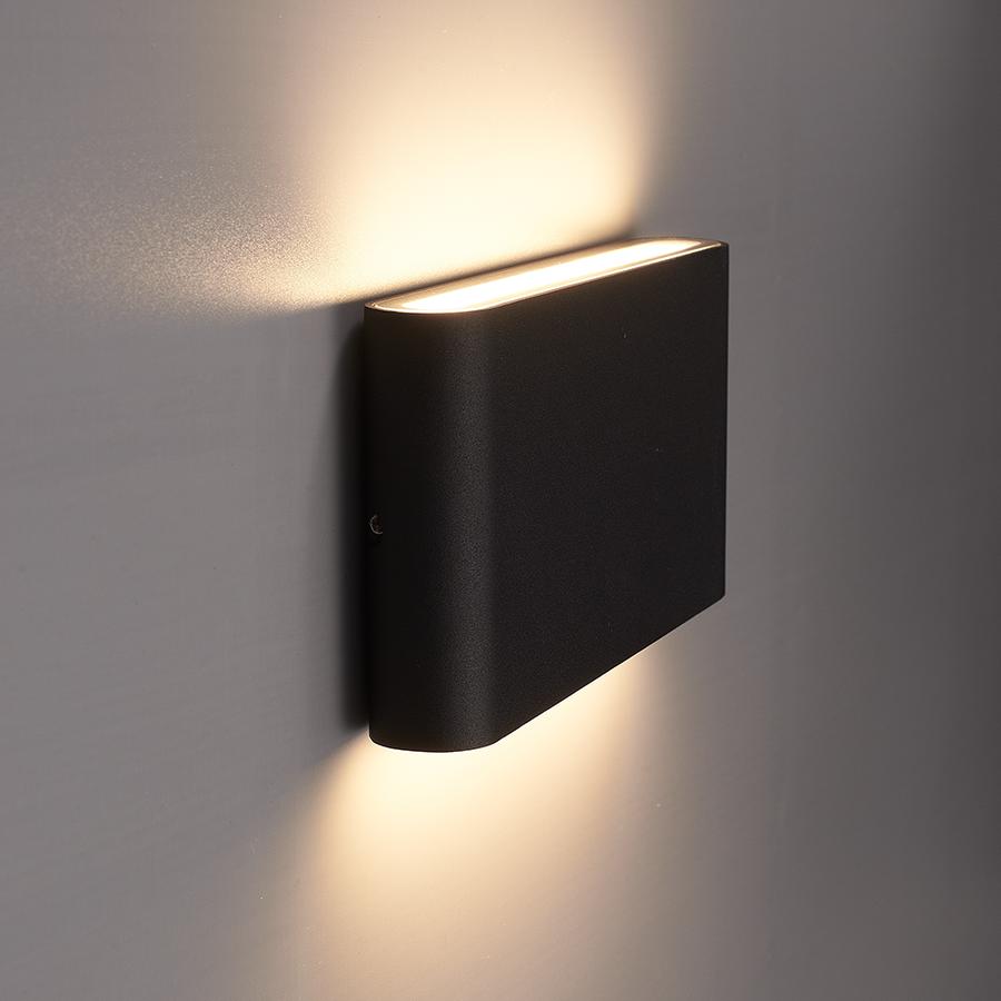 Dimbare LED Wandlamp Dallas M zwart 12 Watt 3000K tweezijdig oplichtend IP54 spatwaterbestendig 3 jaar garantie
