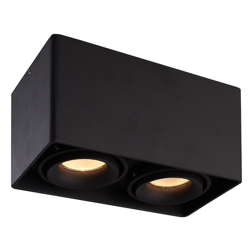 HOFTRONIC™ Dimbare LED opbouw plafondspot Esto Zwart 2 lichts IP20 kantelbaar excl. lichtbron