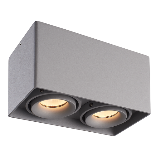 HOFTRONIC™ Dimmable LED surface mounted ceiling spotlight Esto 2 light GU10 Grey IP20 tiltable