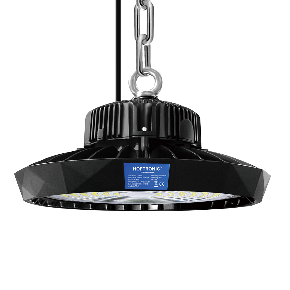 LED High bay 90W 120° IP65 Dimbaar 5700K 190lm/W Hoftronic Powered 5 jaar garantie