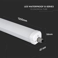 12-pack LED armaturen IP65 120 cm 36 Watt 2880lm 6400K koppelbaar