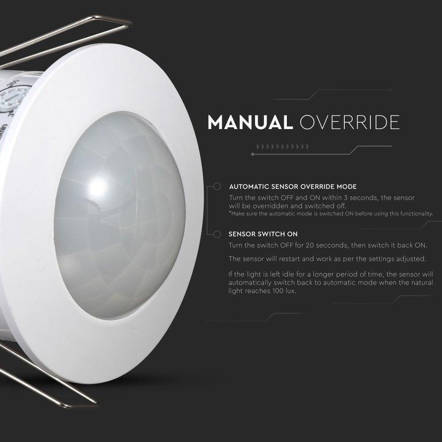 PIR bewegingssensor met schemerschakelaar 360° bereik 6 meter Maximaal 300 Watt IP20 inbouw kleur wit