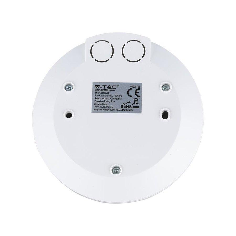 PIR bewegingssensor met schemerschakelaar 360° bereik 6 meter Maximaal 1000 Watt IP20 opbouw kleur wit
