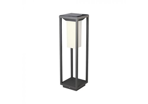 V-TAC LED Solar Bollard Wall Lamp Samsung 2 Watt 3000K Grey