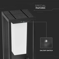 LED Solar Wall light with Sensor Samsung 2 Watt 3000K anthracite Max. 8 burning hours