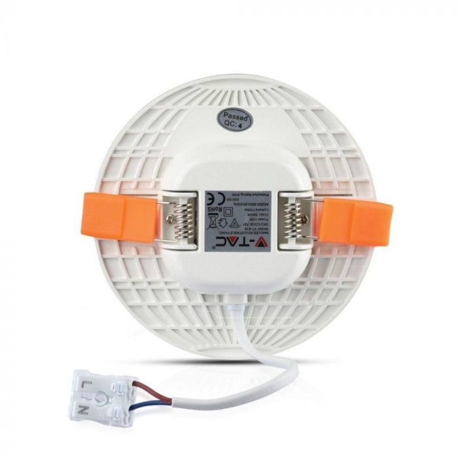 MINI LED Paneel Downlight wit 12 Watt 6400K rond IP20