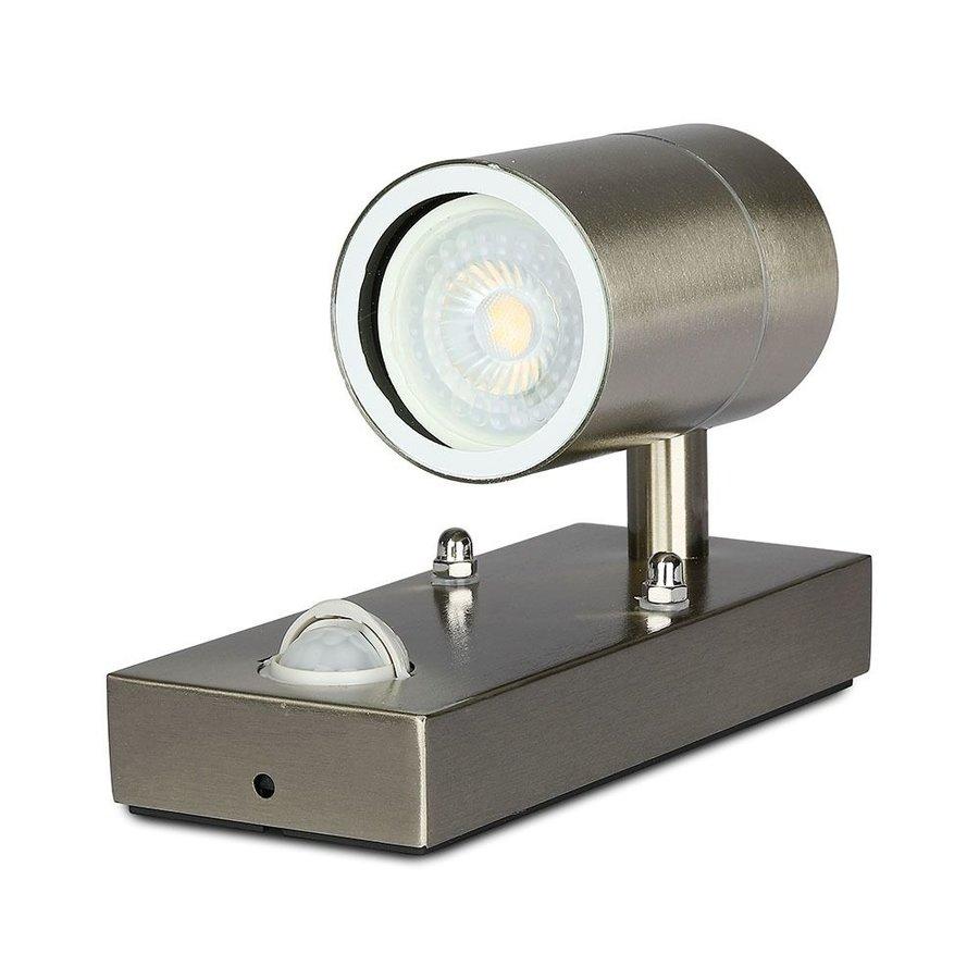 Buitenlamp GU10 in RVS met bewegingsmelder en schemerschakelaar 3 jaar garantie