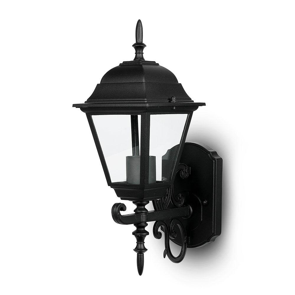 Traditionele Buitenlamp LED Wand E27 IP 44 Mat Zwart