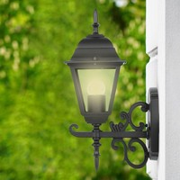 Traditional classic wall lamp black for E27 lamps IP44 3 year warranty