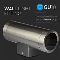 Tweezijdig oplichtende wand buitenlamp geborsteld RVS geschikt voor GU10 spots IP44 vochtbestendig 3 jaar garantie